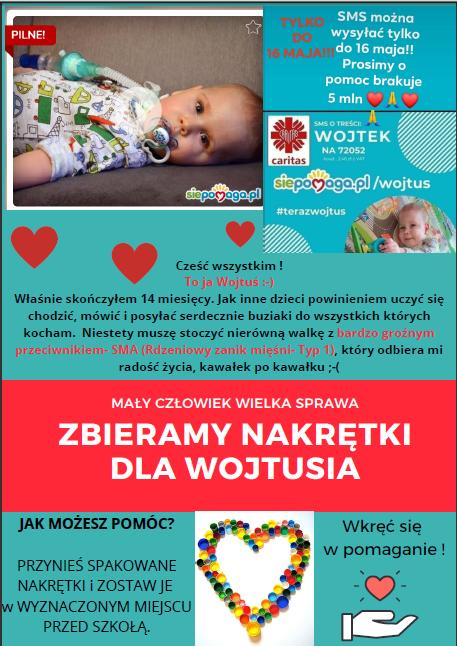 Plakat zbieramy nakrętki dla chorego chłopca